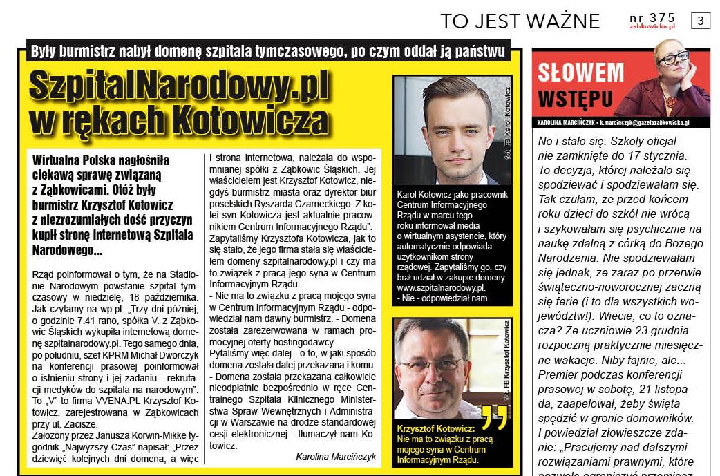SzpitalNarodowy.pl w rękach Kotowicza - Zdjęcie główne