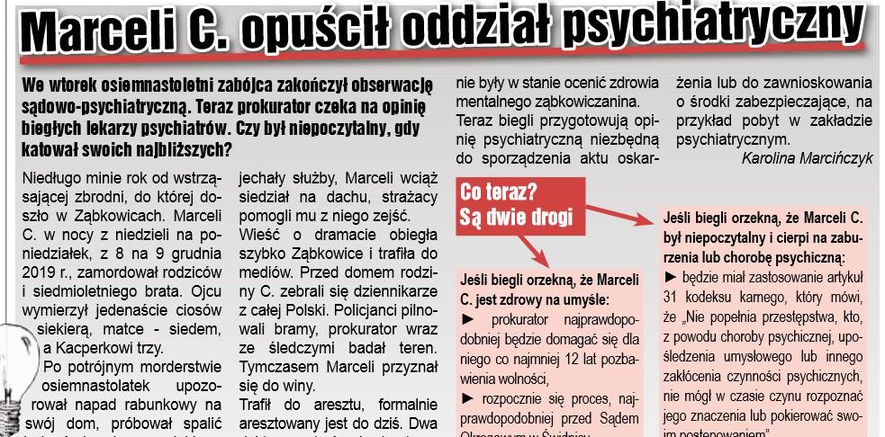 Marceli C. opuścił oddział psychiatryczny - Zdjęcie główne