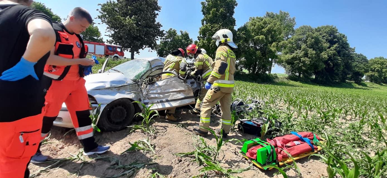 Gmina Ziębice: Wypadek samochodu osobowego za Wadochowicami. Jedna osoba ranna - Zdjęcie główne