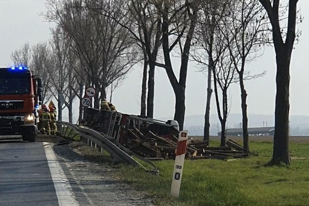 Braszowice: Kolizja na krajowej ósemce - Samochód ciężarowy przewożący drewno wpadł do rowu - Zdjęcie główne